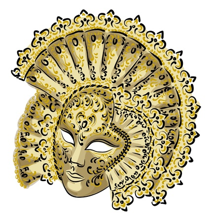 venetian: Venetian carnival mask. Vector illustration.  Illustration