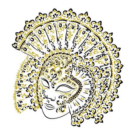 female mask: Venetian carnival mask. Vector illustration.  Illustration