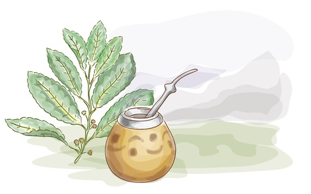 argentina: Yerba Mate and Calabash. Watercolor style.  Vector illustration.