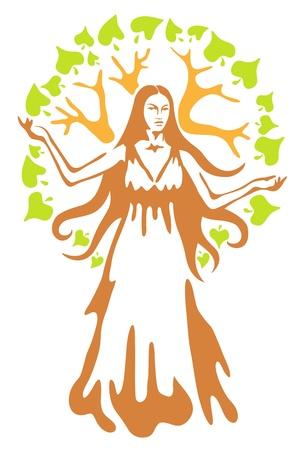 diosa griega: Panacea - diosa griega antigua. Ilustración del vector. Vectores