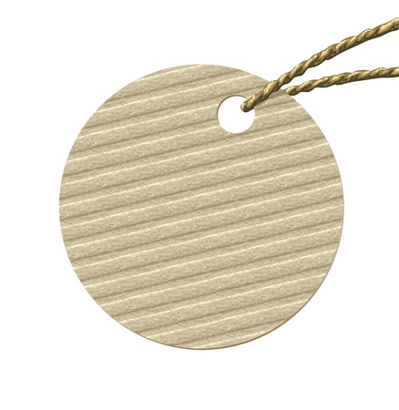 Round cardboard tag with rope from natural materials. Vector illustration. Vector