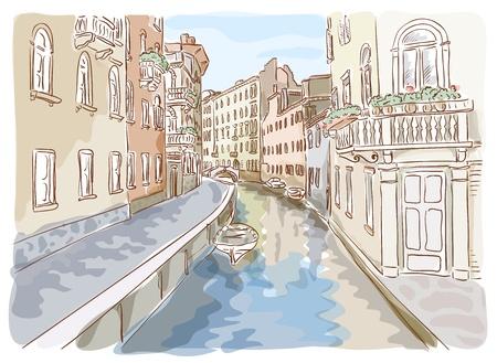 cultura italiana: Venezia. Acquerello stile. Illustrazione vettoriale. Vettoriali