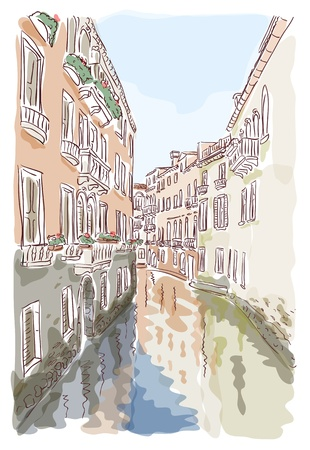 city lights: Venice. Watercolor style. Vector illustration.