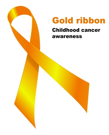 Gold ribbon.  Childhood cancer awareness symbol Stock Vector - 13207578
