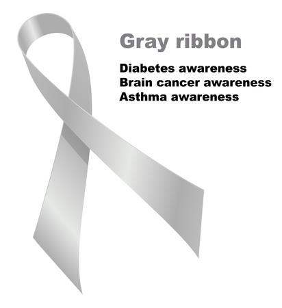 Gray ribbon. Diabetes awareness. Brain cancer awareness. Ilustracja