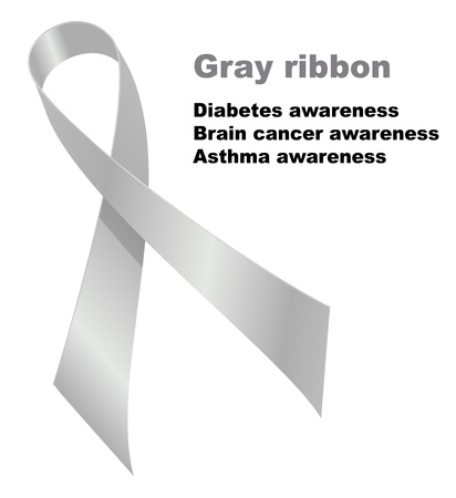 awareness ribbons: Gray ribbon. Diabetes awareness. Brain cancer awareness. Illustration