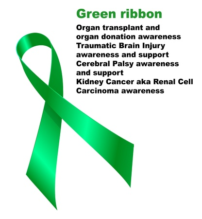 Green ribbon. Organ transplant and  organ donation awareness.Traumatic Brain Injury  awareness and support.Cerebral Palsy awareness  and support. Kidney Cancer aka Renal Cell  Carcinoma awareness.