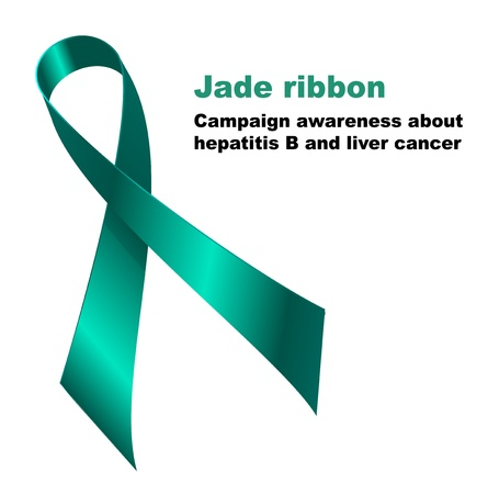 liver cancer: Jade ribbon. Campaign awareness about  hepatitis B and liver cancer. Illustration