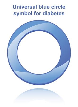 Universal blue circle symbol for diabetes.