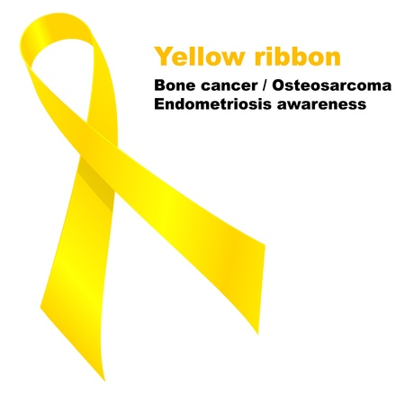 bone cancer: Yellow ribbon, Bone cancer  Osteosarcoma.  Endometriosis awareness. Illustration