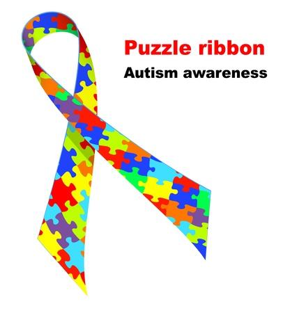 Puzzle ribbon. Autism awareness symbol. Stock Vector - 13321225