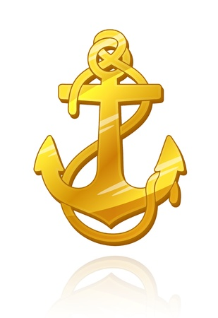 seafaring: Gold Anchor.  Illustration
