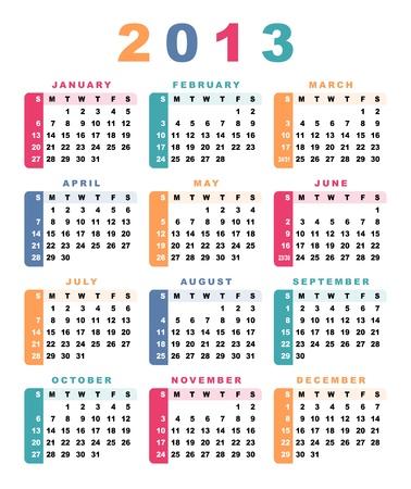 Calendar 2013 (week starts with sunday) Ilustracja