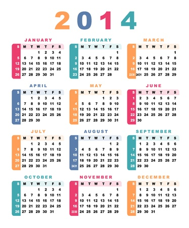 Calendar 2014 (week starts with sunday) Vector