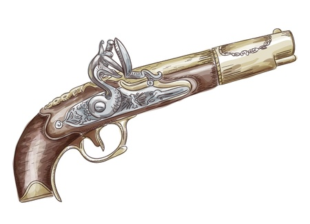 18th century style: French flintlock antique pistol (late 18th - early 19th Century). Vector illustration. Watercolor style. Illustration
