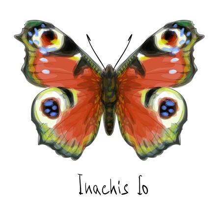 schmetterlinge blau wasserfarbe: Schmetterling Inachis io. Aquarell-Imitation.