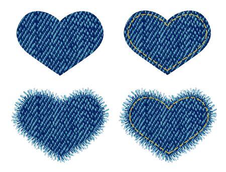 Denim heart patch.  Vector