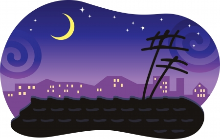 Stylized night cityscape with a tiled roof and the moon Vector