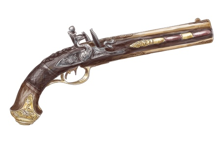 dueling pistol: Dutch two barrel flintlock pistol by Johann Kuchenreiter (late 18th Century). Watercolor imitation