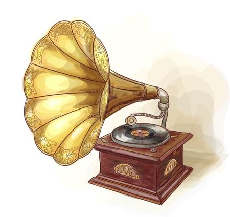 Vintage Gramophone  Wtercolor imitation