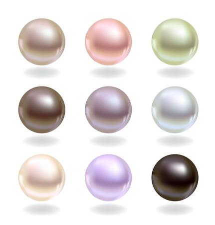 perlas: Perlas esféricas de diferentes colores Vectores