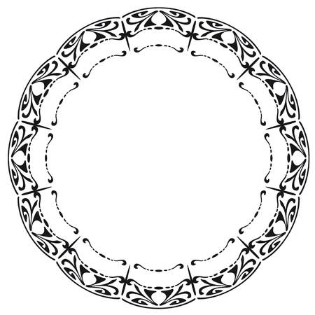 Rounded frame in the style of Art Nouveau  Vector illustration  Vector
