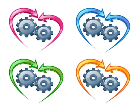 Gears and arrows in the shape of a heart Stock Vector - 13951227