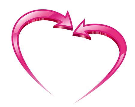 2 objects: Two pink arrows create a heart shape