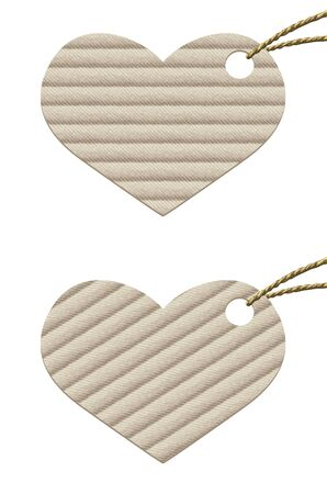 Heart  Cardboard tag with rope from natural materials  Vector