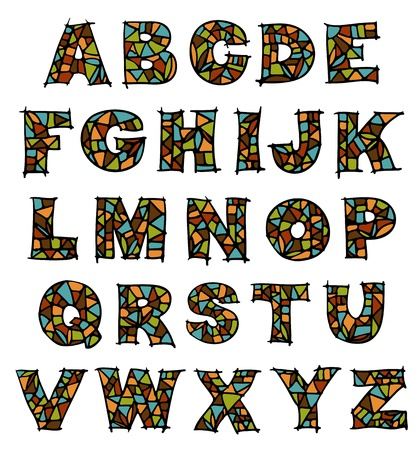 alphabetical letters: Glass mosaic alphabet