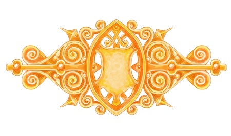 ornated: Ornated gold vintage decor with heraldic shield. Imitation of watercolor drawing Illustration
