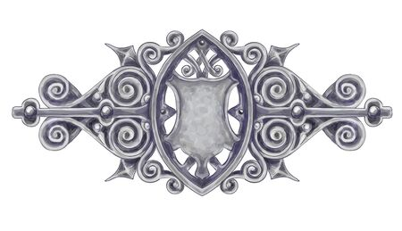 Ornated silver vintage decor with heraldic shield. Imitation of watercolor drawing Stock Vector - 15775056