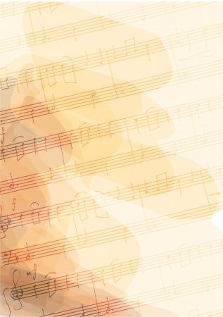 Bsckground met handgemaakte muzieknoten Stock Illustratie