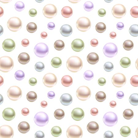 Spherical pearls of different colors