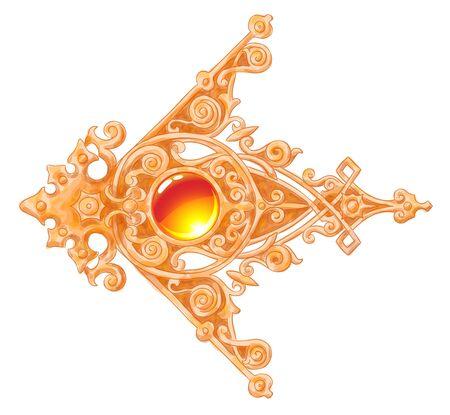 cabochon: La vendemmia ornated angolo d'oro con un cabochon imitazione del disegno acqua colore Vettoriali