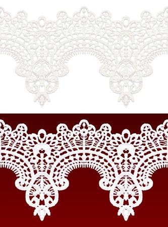 classic woman: Calado Blanca borde de encaje transparente. Ilustraci�n vectorial realista.