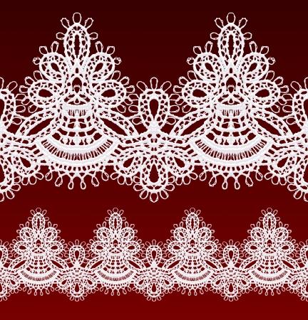 openwork: White openwork lace seamless border. Realistic vector illustration.