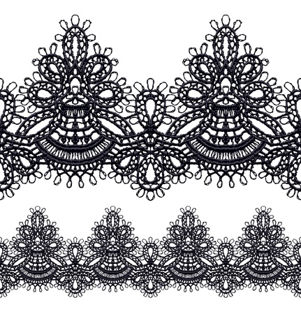Black openwork lace seamless border. Realistic vector illustration.