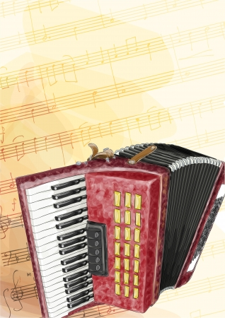 accordion: Accordion. Vector illustration. Watercolor imitation.