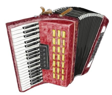 accordion: Accordion. Vector illustration. Watercolor imitation.