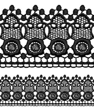 Black openwork lace seamless border. Realistic vector illustration. Stock Vector - 16464125