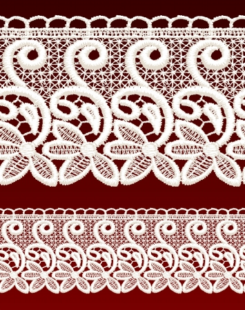White openwork lace seamless border. Realistic vector illustration. Stock Vector - 16464085