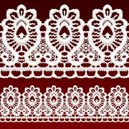 White openwork lace seamless border. Realistic vector illustration. Stock Vector - 16454759