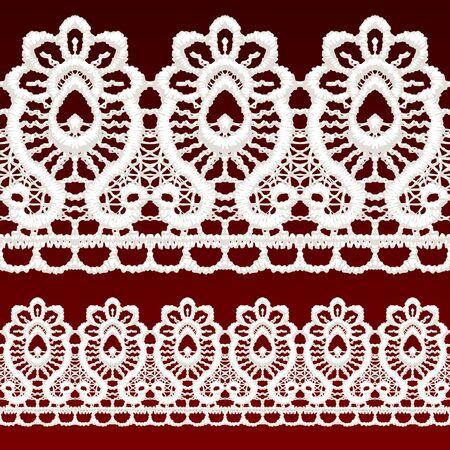 White openwork lace seamless border. Realistic vector illustration. Stock Vector - 16454759
