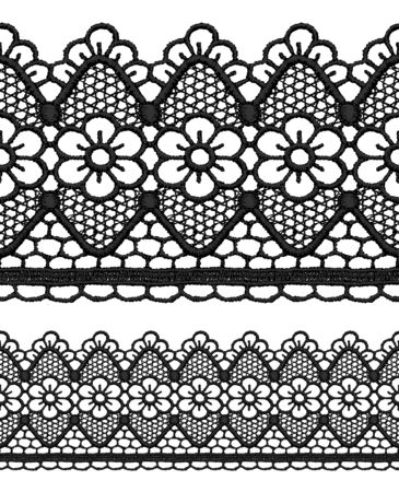 Black openwork lace seamless border. Realistic vector illustration. Stock Vector - 16464086