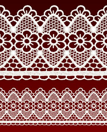 White openwork lace seamless border. Realistic vector illustration. Stock Vector - 16464080