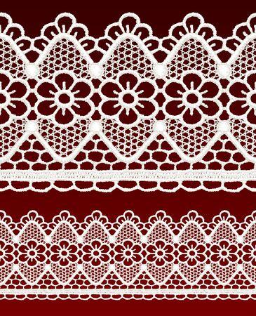White openwork lace seamless border. Realistic vector illustration. Stock Vector - 16464080