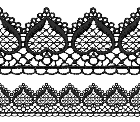 Black openwork lace seamless border. Realistic vector illustration.