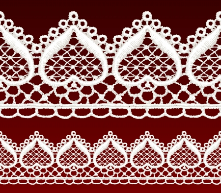 White openwork lace seamless border. Realistic vector illustration. Vector