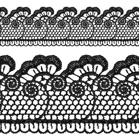 lace vector: Black openwork lace seamless border. Realistic vector illustration.